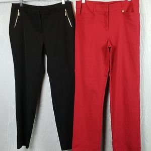 ANNE KLEIN.. 2 pairs of dress pants..black & red